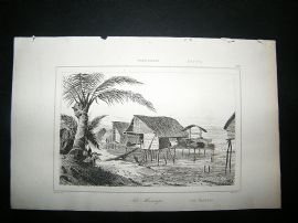 Pacific Papua:C1850 Steel Engraving, Houses.